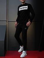 Мужской спортивный костюм, чоловічий костюм Supreme (черный+белый лого), Реплика