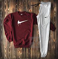 Мужской спортивный костюм, чоловічий костюм Nike (красный+серый), Реплика