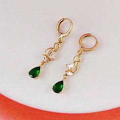 Серьги Xuping Jewelry висюльки зеленые медицинское золото, позолота 18К А/В 4833