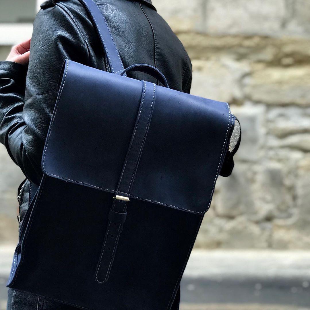 Кожаный рюкзак Backy Синий