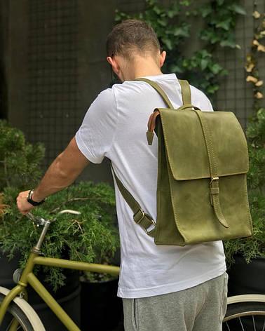 Шкіряний рюкзак «Backy Green» чоловічий зелений (26x35 см) ручної роботи від pan Krepko, фото 2