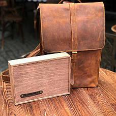 Шкіряний рюкзак «Backy Cognac» чоловічий бурштиновий (26x35 см) ручної роботи від pan Krepko, фото 3