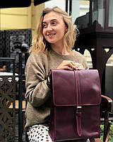 Кожаный рюкзак «Backy Azure» женский голубой (26x35 см) ручной работы от pan Krepko