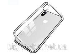 Металлический магнитный чехол для iPhone 8 Plus  Серебристый