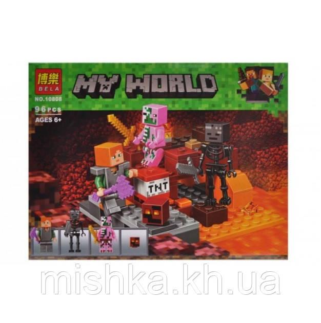 """Конструктор """"MINECRAFT"""" """"Битва в Нижньому світі"""" (коробка) 96 дет. 10808 р. 22 * 17 * 4,5 см (Мас)"""
