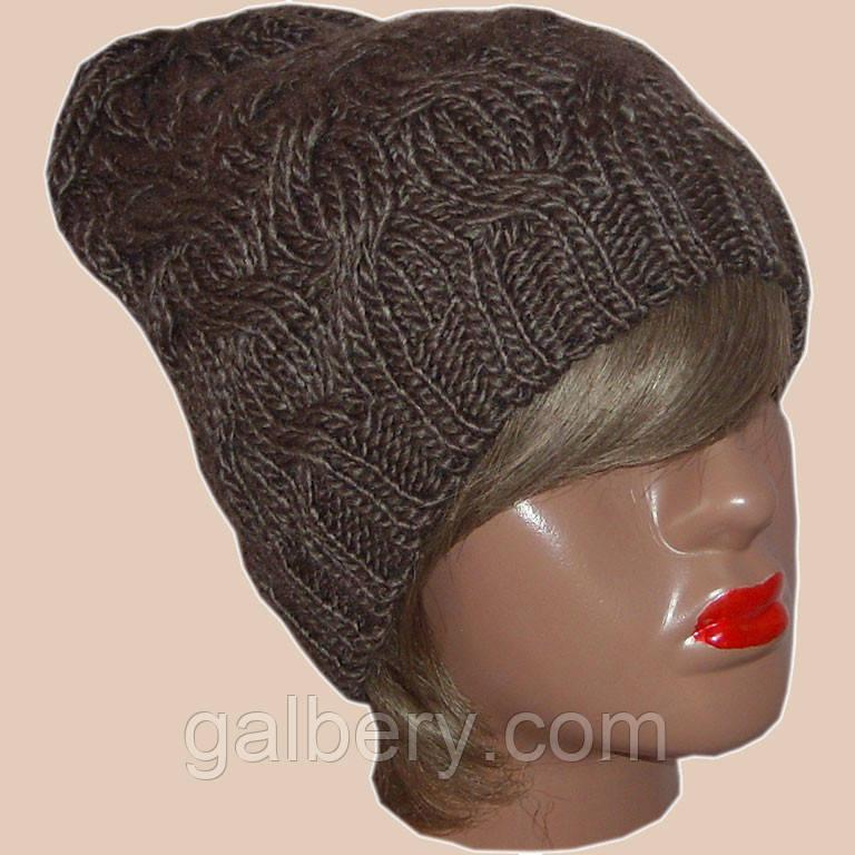 Женская вязаная шапка , в стиле Лало, объемной крупной вязки косами.