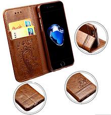 Кожаный чехол-книжка для Samsung Galaxy S7 бордовый, фото 2
