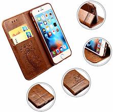 Кожаный чехол-книжка для Samsung Galaxy S7 бордовый, фото 3