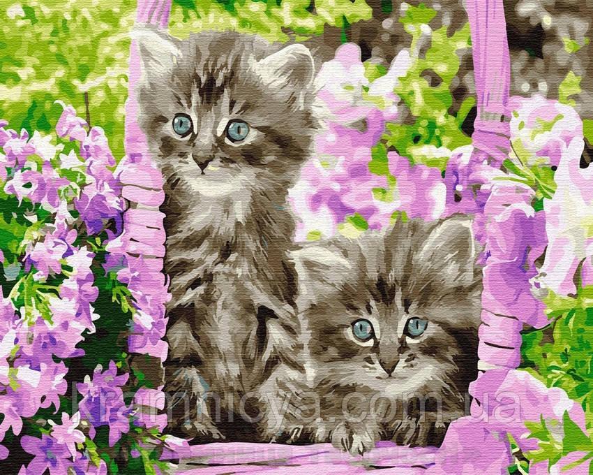 Картина по номерам Brushme 40х50 Котята в корзинке (GX29109)