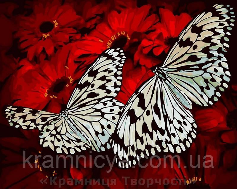 Картина по номерам Brushme 40х50 Бабочки на цветах (GX29432)