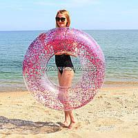 Надувной круг для плавания Intex Розовый диаметр 119 см 56274NP. Отлично подходит для отдыха на море