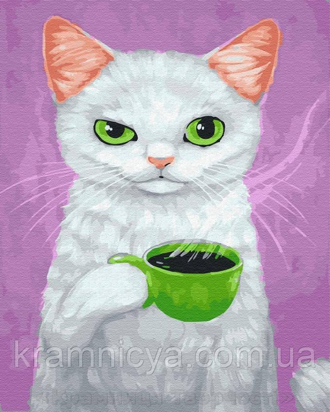 Картина по номерам Brushme 40х50 Кот-сударь с кофе (GX23648)