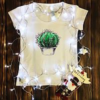 Женская футболка  с принтом - Кактус