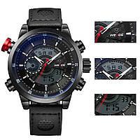 Часы WEIDE Sport Watches Premium Black 3401 для спорта многофункциональные с LED подсветкой черные, фото 1