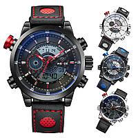 Часы WEIDE Sport Watches Premium Red 3401 для спорта многофункциональные с LED подсветкой красные