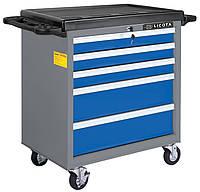 Телега инструментальная 5 полок, пласт. стол., сине-серая, пустая LICOTA (AWX-2602BTS)