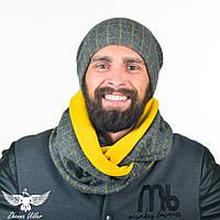 Серый набор в желтую клетку: шарф-снуд + шапка. unisex, фото 1