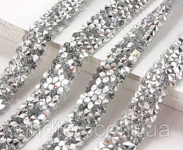 (1см х 40см) Стразовое термополотно  Цена за 1 полоску Цвет - Серебро (сп7нг-3598)