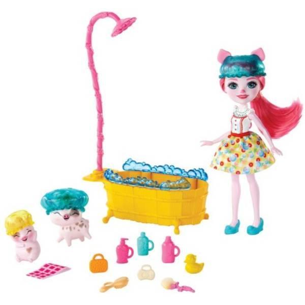 Enchantimals Банный день Петя пиг и свинками Стреусел и Ниша GJX36 Petya Pig Streusel Nisha