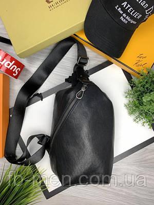 Сумка-слинг мужская кожаная Армани   Нагрудная сумка кожа Армани   Сумка через плече Армани внешний карман