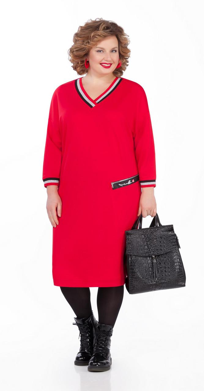 Платье Pretty-1000 белорусский трикотаж, красный, 56