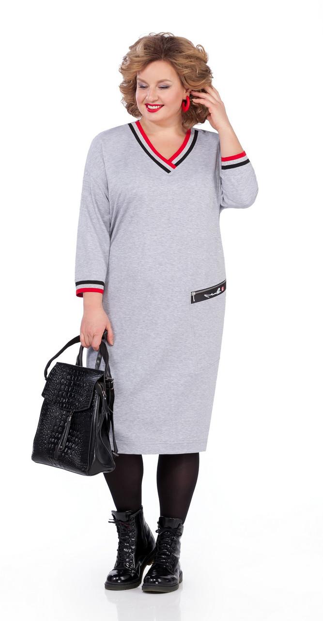 Платье Pretty-1000/2 белорусский трикотаж, серый, 56