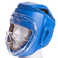 Шлем для единоборств с прозрачной маской кожаный Everlast