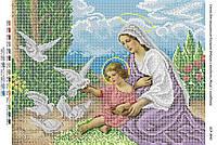 """Схема для вышивки бисером иконы """"Мадонна с младенцем, Иисус с голубями"""""""