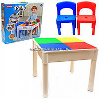 Столик детский с двумя стульчиками Sluban, размер стола 51х51х40 см (M38-B0637)