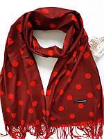Шарф женский кашемировый Амалия  бордовый в красный горошек 130-1