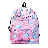 Рюкзак городской с принтом фламинго розовый и голубой