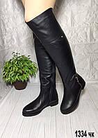 Ботфорты зимние кожаные на ровной подошве, фото 1