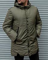 Куртка мужская цвет хаки .Мужская  удлиненная куртка с капюшоном.ТОП КАЧЕСТВО!!!