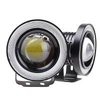 Противотуманные LED фары с ангельскими глазками 76mm 10W 1200lm (2шт)