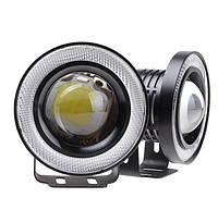 Противотуманки LED фары с ангельскими глазками 89mm 10W 1200lm (2шт), фото 1