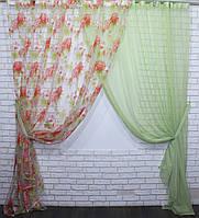 Комплект декоративных штор органза с шифоном, цвет салатовый . 030дк(379т)