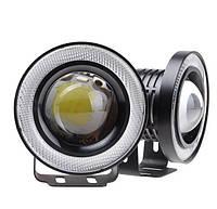 Противотуманные LED фары с ангельскими глазками 64mm 10W 1200lm (2шт)