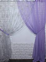 Комплект декоративных штор органза с шифоном, цвет сереневый . 030дк(378т)  10-007