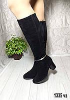 Замшевые сапоги на каблуке зимние, фото 1