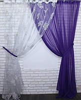 Комплект декоративных штор органза с шифоном, цвет фиолетовый. 030дк(378т)  10-005