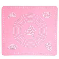 Коврик для выпечки, и раскатывания теста, силиконовый, антипригарный, 29x26 см., цвет - розовый , Антипригарные коврики