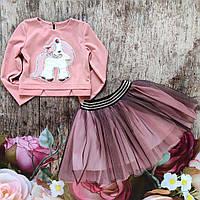 """Нарядный костюм для девочки свитерок и фатиновая юбочка """"Пони"""" (98-122р)."""