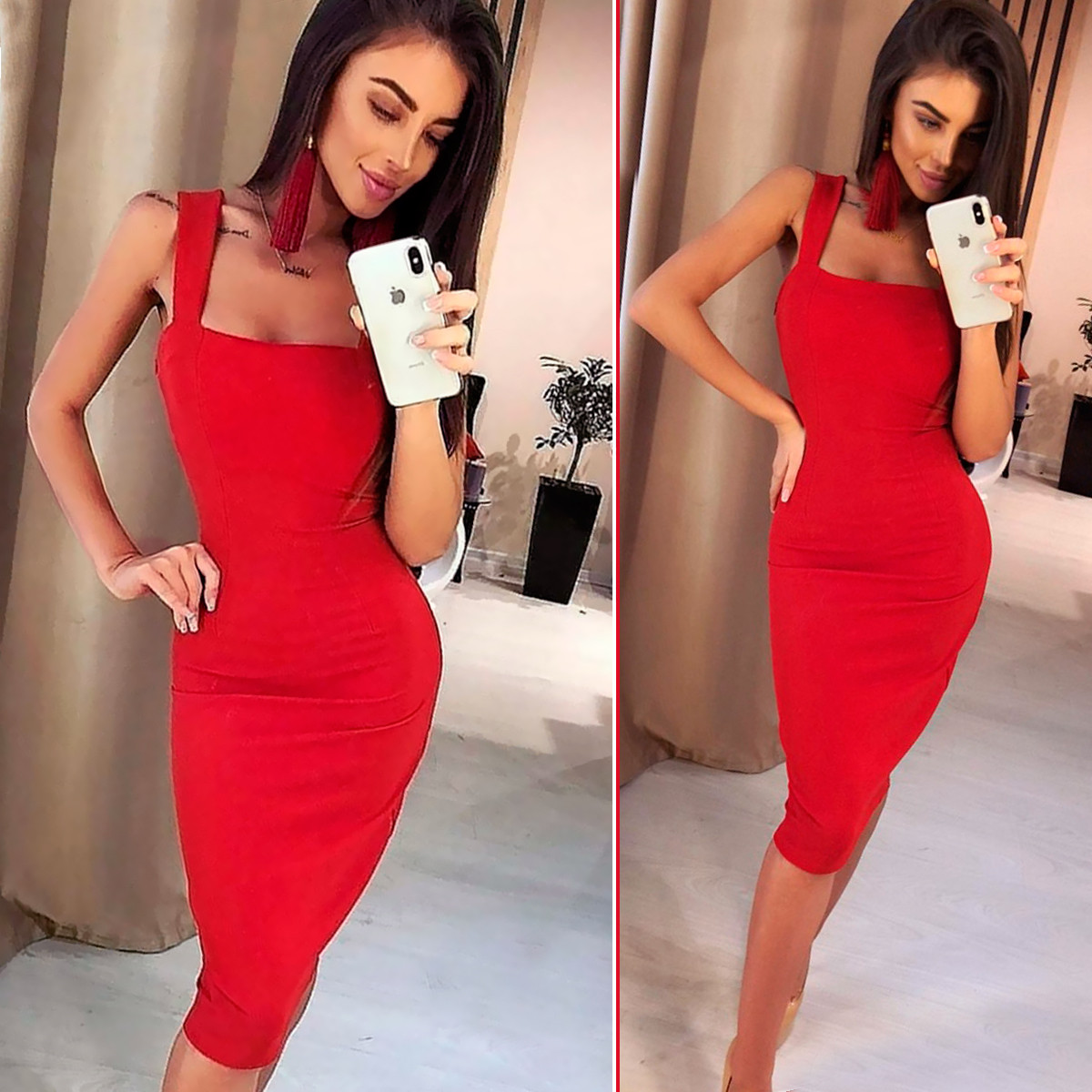 Красное летнее платье футляр (Код MF-202)
