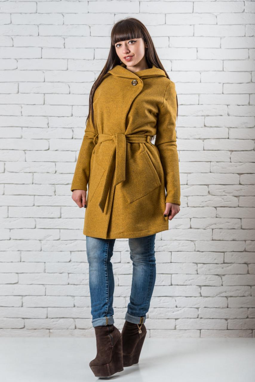 Женское демисезонное пальто из кашемира  42-52 горчичный