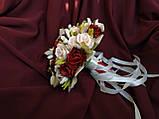 Свадебный букет-дублер пудровый с бордовым, фото 2