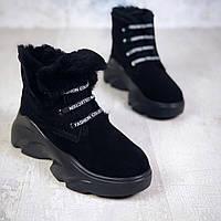 Зимние замшевые ботинки на шнуровке 37 р чёрный