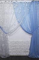 Комплект декоративных штор органза с шифоном, цвет голубой. 030дк(377т) 10-004, фото 1