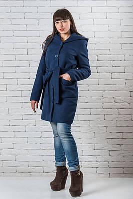 Пальто женское кашемир 42-48 темно-синий