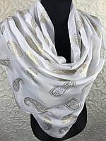 Белый шарф в храм с золотом (цв 1)
