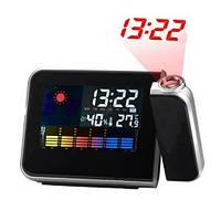 🔝 Домашняя метеостанция с часами Color Screen Calendar 8190, цвет - черный,  , Термометри, гігрометри, метеооборудование